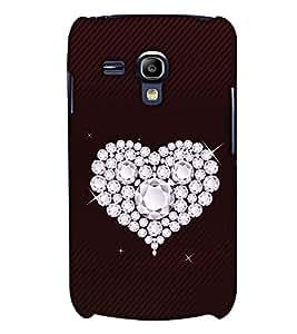 PrintHaat Designer Back Case Cover for Samsung Galaxy S3 Mini I8190 :: Samsung I8190 Galaxy S Iii Mini :: Samsung I8190N Galaxy S Iii Mini (diamond in heart :: sparkling diamonds :: lovely heart on brown stripes background)