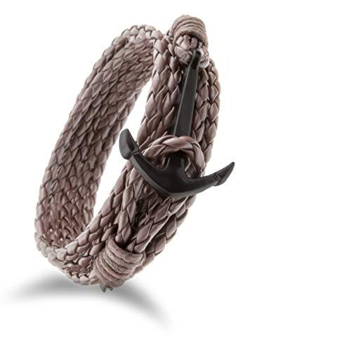 Design in Leather Maritimes Anker-Armband Nylon mit Anker für Damen und Herren Schmuck-Beutel Geburtstags Geschenk Größe S bis XXXL (Braun/Schwarz)
