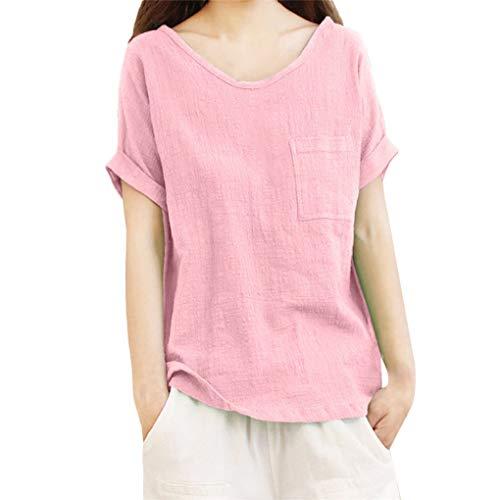 Große Größe Sommertops für Damen,Dorical Frauen Linen Kurzarm V-Ausschnitt Tops mit Tasche,Ultraleicht Oberteile Loose T-Shirt Blouse,Elegant Damenkleidung S-5XL Ausverkauf(Rosa,X-Large)
