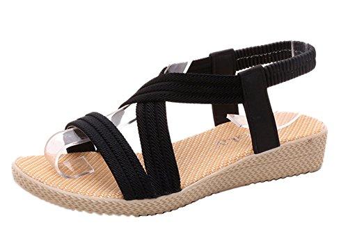 Minetom Donna Estate Nuovo Sandali con Cinturino Tacco Basso Estate Punta Aperta Scarpe Bohemia Flats Sandal Nero