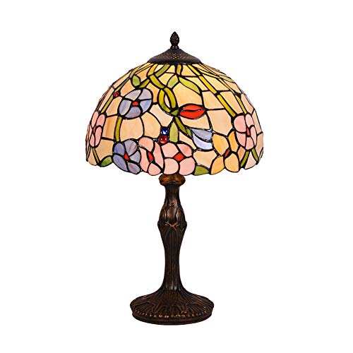 YIAIYW Vintage Primärfarbe Glas Tischlampe Tiffany Stil handgefertigt Harz Basis robust, Blumenmuster, Glasmalerei Lampe Tischlampe Nachttischlampe Schlafzimmer -