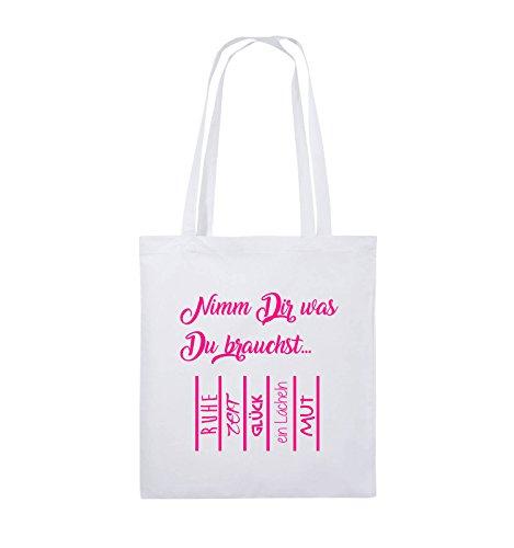 Buste Comiche - Prendi Ciò Che Ti Serve - Buste Di Annullamento - Borsa Di Juta - Manico Lungo - 38x42cm - Colore: Nero / Rosa Bianco / Rosa