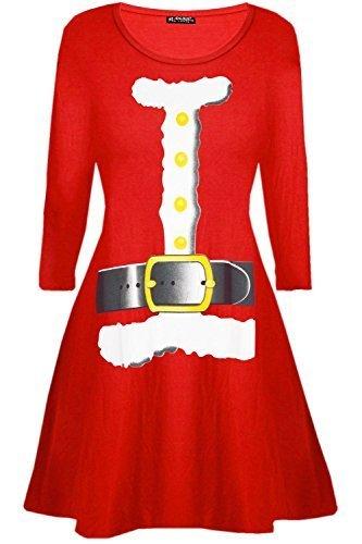Be Jealous Damen Santa Rentier Wall Schneeflocken Kostüm Weihnachten Swing Kleid UK Übergröße 8-26 - Santa Kostüm rot, Plus Size (UK (Für Frauen Kostüme Santa)