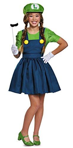Bros Teen Luigi Costume Dress Junior 7-9 ()