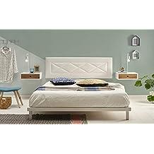 HOGAR24 ES Cabecero tapizado R55, válido para Cama 135,140 y 150 cm, Color Blanco