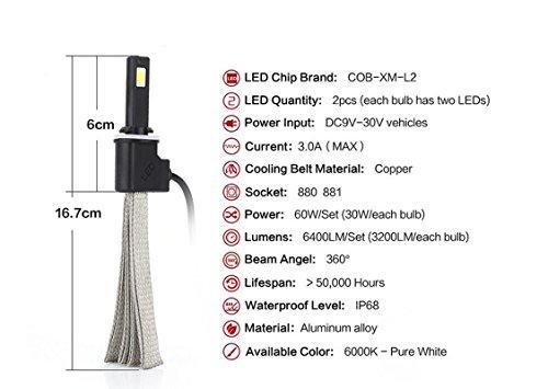 Lanlan LED-Scheinwerfer für DRL Nebel Licht 320030W 6000K Pure White 2PCS LED Scheinwerfer Qualität Chips Conversion Kit