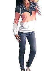 Costumes Sport Occasionnel Féminin de Pull-over à Manches Longues Pour Ouvrir Col Le Sweat à Capuche et un Pantalon