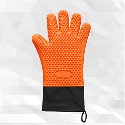 Einzelpackung Lebensmittelqualität Silikon Kochen Backen Grillhandschuh Hitze Kältebeständiger Grillhandschuh Wasserdichter Grillhandschuh (Orange) -