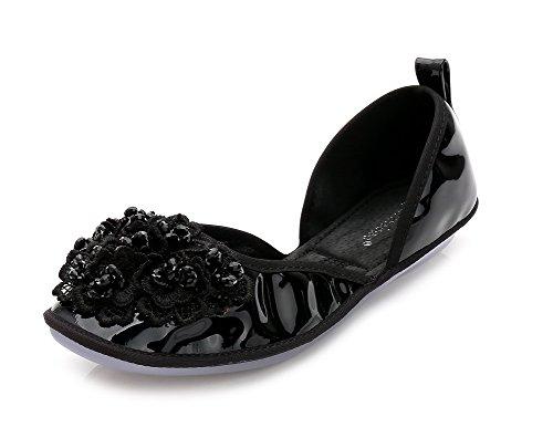 AalarDom Damen Ziehen Auf Rein Weiches Material Schließen Zehe Flache Schuhe Schwarz-Perlenschnur