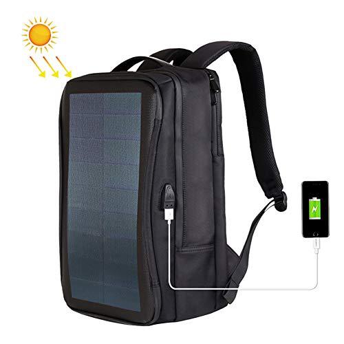 Lis-shan Solar-Laderucksack, wasserdichte Rucksack, Business Laptop Rucksack mit USB-Ladeanschluss Daypack passt 15,6 Zoll Computer Notebook