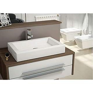 Art-of-Baan® - Hochwertiges Design Keramik Waschbecken, Waschschale Aufsatz rechteckig reinweiß glänzend 600 * 400 * 100 mm, (Kefren)