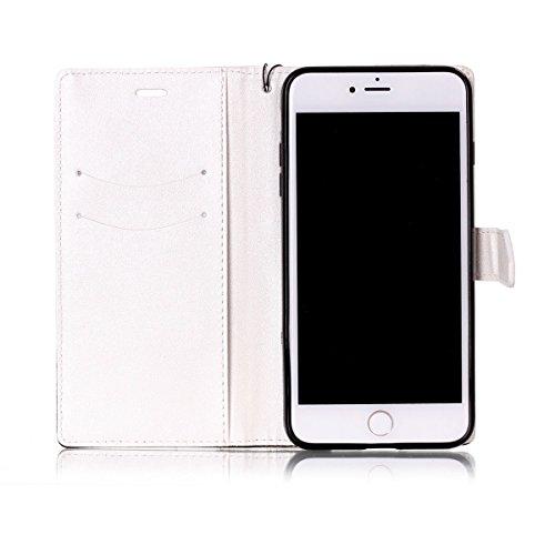 iPhone 7Plus Case, Case First due colori design PU pelle portafoglio Case Cover Flip Cover con Cinturino da Polso e Card Slot per iPhone 7Plus Bianco + nero