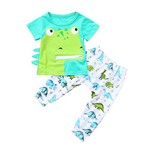 sunshineBoby Kleinkind Baby Jungen Mädchen Cartoon Dinosaurier Print Tops T-Shirt Hosen Outfits Set Weich Kleinkind Säugling Baby Beiläufig Kleider Set Lange Ärmel Tops + Hose (Grün, 70) (Baumwoll Print Knit Pants)
