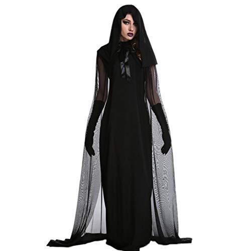 Yalatan Halloween Klassische Hexe Kostüm Frauen Schwarze Königin Lange Kleid Cosplay Vampir Uniformen (Frauen Schwarze Hexe Kostüm)