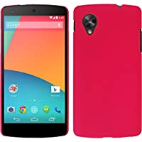 Funda Rígida para Google Nexus 5 - goma rosa caldo - Cover PhoneNatic Cubierta + protector de pantalla