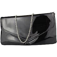 a17714465a869 2Store24 Envelope Clutch Lack Damen Handtasche Abendtasche in schwarz weiß  rot uvm