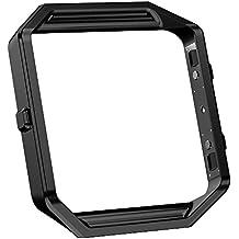 Fitbit Blaze Marco, Fintie Metal acero inoxidable Repalcement vivienda funda protectora Frame Housing para Fitbit Blaze Smart Fitness reloj - Negro