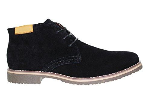 Findlay - Aspect Désert Boots Homme En Cuir Vrai Daim Avec Un Empiècement Contrastant À L'Ouverture Et Un Petit Talon Noir