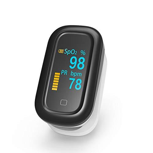 YCCG Pulsoximeter-Fingerspitze, Blutsauerstoffsättigungsmonitor für Pulsfrequenz und SpO2-Spiegel, für den Heim-, Trainings- und Reisegebrauch geeignet,A