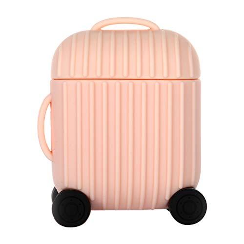 WOB Cartoon Form Silikonhülle für Apple AirPods 2 Charging Case,Süß Koffer Form Silikonhülle Kratzfest und stoßfest Einfarbig (mehrere Farben erhältlich) Schutzhülle (Rosa)