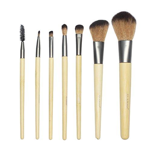 LeSB Cosmetics Make-Up Pinsel Set aus nachhaltigem Bambus mit Tasche, 1er Pack (1 x 7 Stück) -