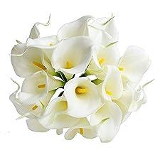 10PCS PU Artificiale Avorio Calla Lilies Real Touch Latex Piante Fiori per la cerimonia nuziale per la decorazione domestica