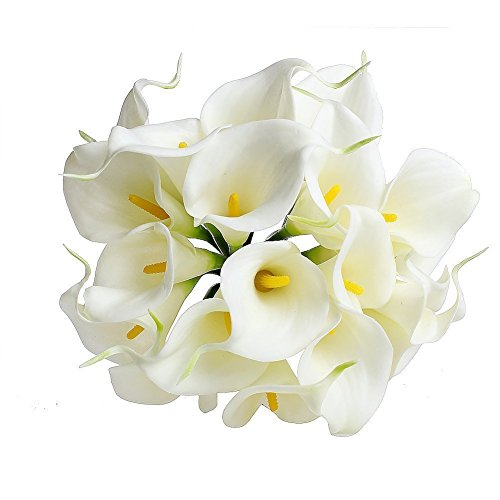 kingtoys® 10PCS PU Artificiale Avorio Calla Lilies Real Touch Latex Piante Fiori per la cerimonia nuziale per la decorazione domestica