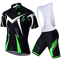 X-TIGER Cycling Jerseys for Men with Straps Short Sleeve Breathable Quick Drying with 5D Padded Gel Culotte Culotte Shorts (Green, L)
