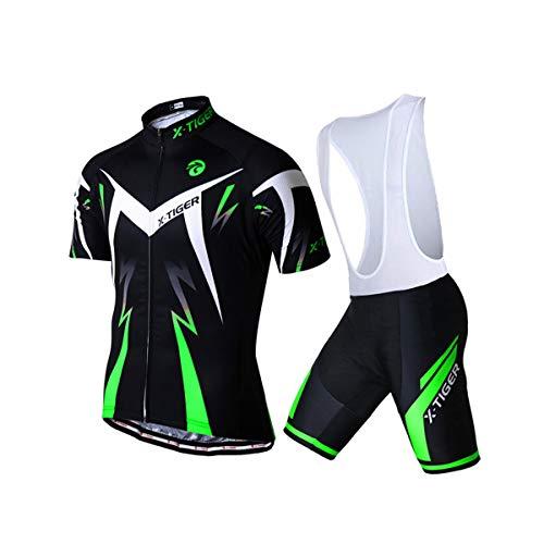 X-TIGER Cyclisme Maillot Manches Courtes+Gel 5D Dous-Vêtements Rembourrés Coolmax Cuissard à Bretelle VTT pour Homme(Vert,L)