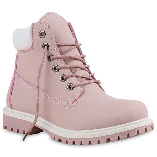 Modische Damen Outdoor Stiefeletten Worker Boots Profilsohle 137314 Rosa Carlet 36 | (Kostüme Kunst)