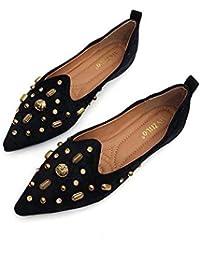 1a5eb4902a880e Frauen Pump Ballerinas Loafer Comfort Mode Spitz Nieten Flache Schuhe Slip  On Casual Hof Schuhe Eu