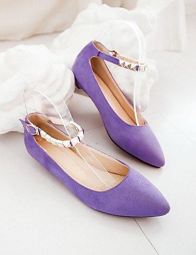 WSS 2016 Chaussures Femme-Bureau & Travail / Habillé / Décontracté-Noir / Bleu / Violet-Talon Bas-Bout Pointu / Bride de Cheville-Talons-Similicuir blue-us8 / eu39 / uk6 / cn39