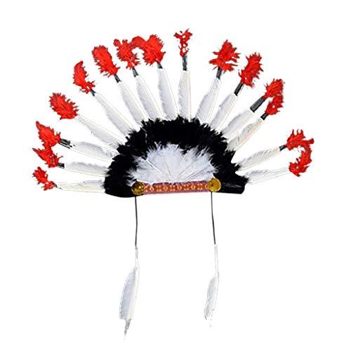 iYmitz Mode Karneval Damen Kopfschmuck Hütte Feder Deluxe Mehrfarbig Indianer Kostüm Kopfschmuck Kopfbedeckung Stirnbänder Stirnband(A-Mehrfarbig,One size)