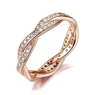 WL Ring 925 prata esterlina anel de prata empilhável com jóias de dedo anel de torção torcida autêntica transparente