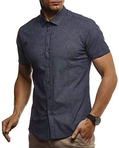 LEIF NELSON Herren Hemd Kurzarm Slim Fit T-Shirt Kentkragen | Stylisches Männer Freizeithemd Stretch Kurzarmhemd | Jungen Basic Shirt Freizeit Sweater Kurzarmshirt Sommerhemd | LN3800 Blau Small