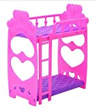 1pc Puppenhaus Möbel Doppelbett Rahmen Kunststoff Etagenbett Schlafzimmermöbel Bett Set für Kelly Barbie-Puppe Barbie-Puppen Puppen Rosa und lila 3,5 Inches Vergleich