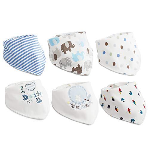 6pcs Baby Dreieckstuch Lätzchen Jungen Spucktuch Baumwolle Halstücher mit süßen Motiven in unterschiedlichen Farben, Doppellagig Saugfähig ... (Baby-jungen-accessoires)