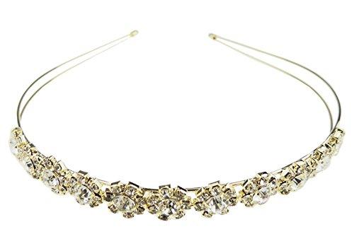 Damen Sparkly Kristall mit Bridal Hochzeit Tiara Runde Steine Stirnband 18E