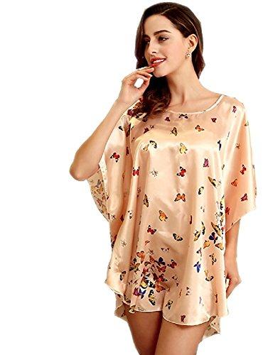 BigForest Femmes Short Batwing Sleeve Pyjama Satin Soie butterfly Peignoir robe set A Champine