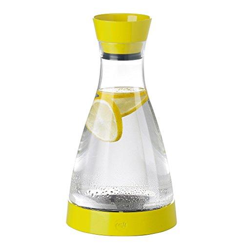 Emsa 508954 Wasserkaraffe mit Kühlelement, 1 Liter, Automatische Verschlussklappe, Kunststoff, Gelb, Flow Friends