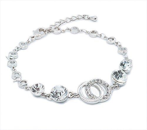 QueenDer Fashion Circle Armband Diamond vergoldeten hübschen Schmuck Silber Shine