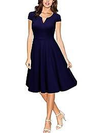 Miusol Damen Cocktailkleid 50er Vintag Style Swing A-Linie Abendkleid Dunkelblau Gr.S-XXL