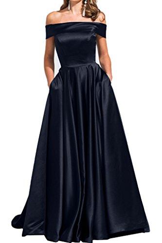 ivyd ressing Modern scollo a U raso A-line di lunga donna Party Festa Prom abito abito sera vestito Dunkelblau 40