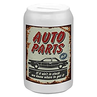 LEotiE SINCE 2004 Spardose Sparbüchse Geld-Dose Wiederverschließbar Farbe Weiß Oldtimer Auto Autoteile Keramik Bedruckt