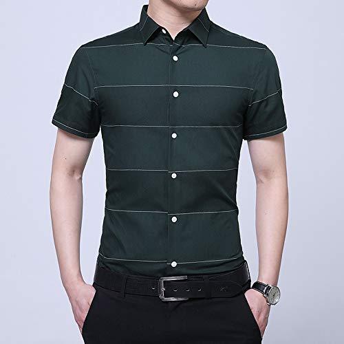 Iyfbxl camicia a maniche corte nuova estate degli uomini camicia coreana di moda selvaggia caldo camicia a righe sottili, a maniche corte verde, m