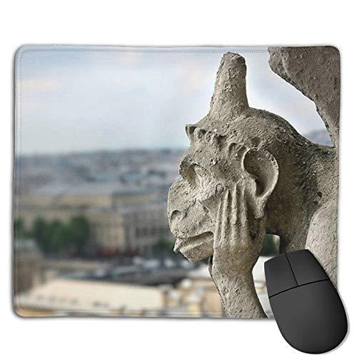 """Jujupasg Mauspad Mit Verriegelungskante, Rutschfestes Mousepad Auf Gummibasis Für Laptop, Computer Und PC, 7,1\""""x 8,7\""""-Wasserspeier auf Notre Dame Cathedral"""