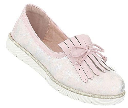 Damen Halbschuhe Schuhe Slipper Loafer Mokassins Flats Slip On Schwarz Beige Pink Silber 36 37 38 39 40 41 Rosa