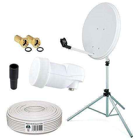 HB-DIGITAL Sat-Komplett-Set: Mini Sat Anlage 40cm Schüssel Hellgrau + LNB 0,1 + 10m Kabel + Stahl Stativ 120cm für HDTV geeignet