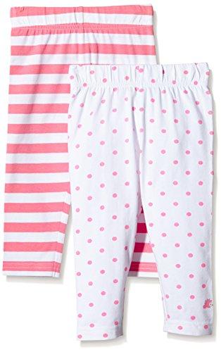 Twins Baby - Mädchen Leggings im 2er Pack, Streifen und Punkte, Gr. 80, Mehrfarbig (Morning Glory/Weiss 3207)