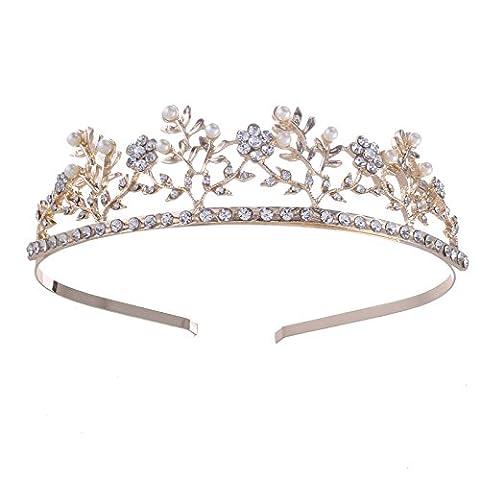 Santfe Chic Lady's Crystal Pearl Headband Rhinestone Wedding Hair Head